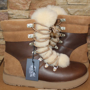 UGG VIKI LEATHER SHEARLING SNOW BOOTS NEW!